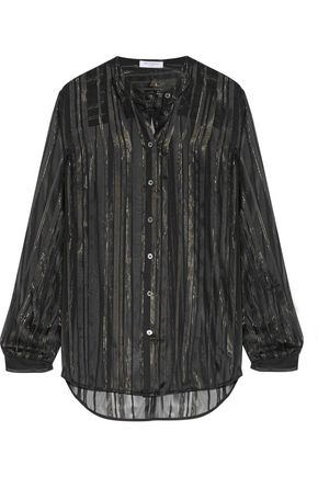 EQUIPMENT FEMME Metallic striped silk-blend voile shirt