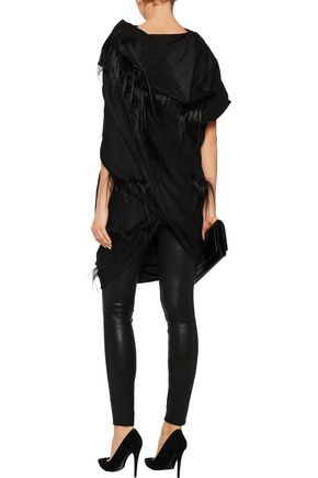 RICK OWENS Draped embellished leather top