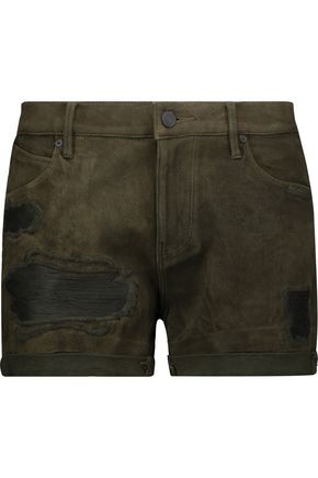 RTA Olivia distressed suede shorts