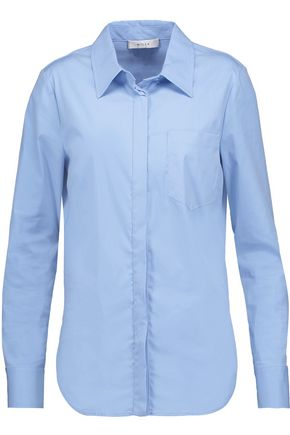 MILLY Stretch cotton-blend poplin shirt