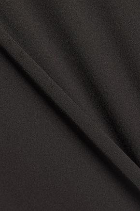 MILLY Kat asymmetric ruffled cotton-blend poplin peplum top