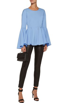 MILLY Kat asymmetric ruffled cotton-blend poplin peplum top