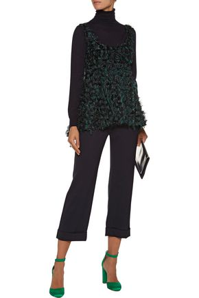 MILLY Logan flared fringed fil coupé top