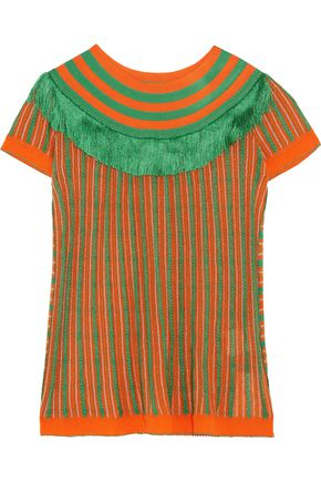MISSONI Fringe-trimmed crochet-knit top