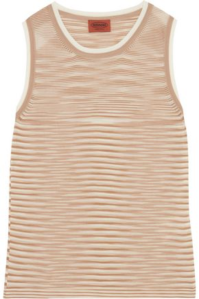 MISSONI Striped crochet-knit wool tank