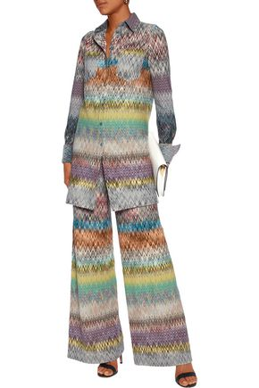 MISSONI Crochet-knit wool-blend shirt