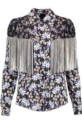 Oops A Daisy fringed lace-paneled printed silk-blend jacquard blouse