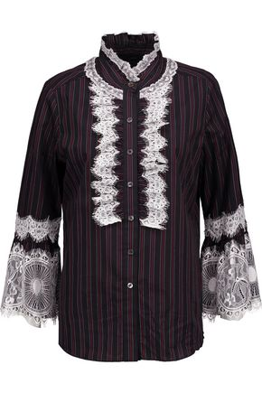 ANNA SUI Lace-trimmed striped cotton-poplin shirt
