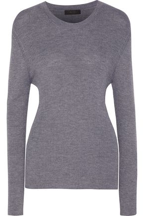 CALVIN KLEIN COLLECTION Bobbie ribbed wool, silk and cashmere-blend sweater