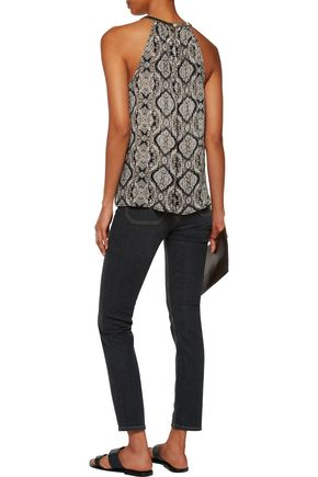 JOIE Francis bead-embellished printed silk-voile top