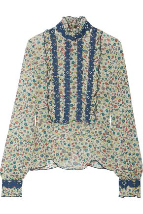 ANNA SUI Ruffle-trimmed embroidered printed silk-georgette blouse