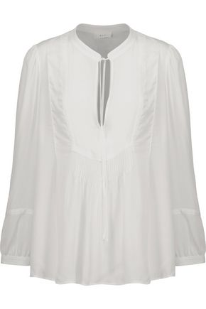 A.L.C. Pintucked silk-crepe blouse