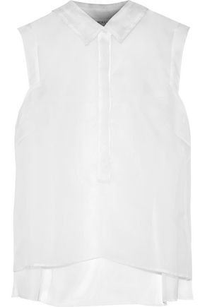 MILLY Pleated silk-organza shirt