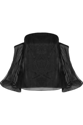 MILLY Gloria off-the-shoulder silk-organza top