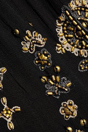 JOIE Zeldah bead-embellished embroidered crepe top