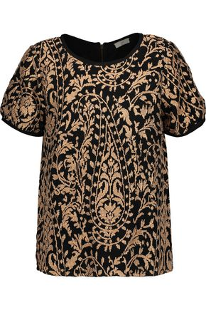 JOIE Metallic embroidered gauze top