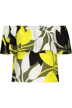 BAILEY 44 Off-the-shoulder layered printed crepe top