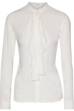 BAILEY 44 Frayed ruffled voile blouse