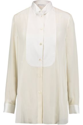 VIONNET Cotton jacquard-trimmed silk-georgette shirt