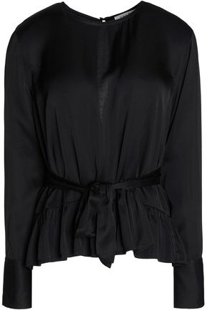 SANDRO Paris Courtney ruffled satin blouse