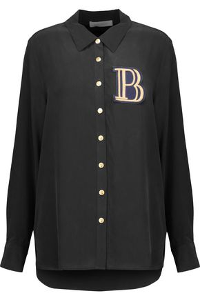 PIERRE BALMAIN Embroidered appliquéd washed-silk top