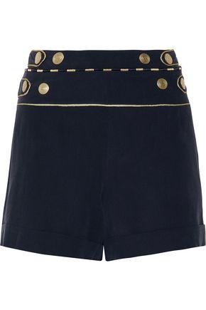 PIERRE BALMAIN Metallic-trimmed washed-silk shorts