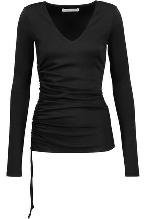 PIERRE BALMAIN Ruched satin-jersey top