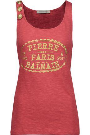 PIERRE BALMAIN Printed slub cotton-jersey top