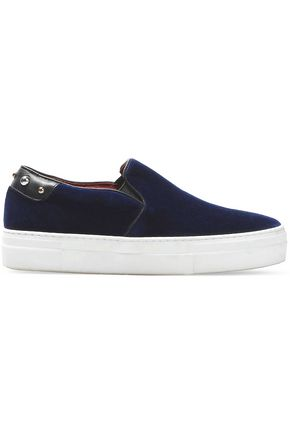 MAJE Embellished velour slip-on sneakers