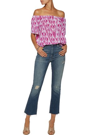 JOIE Amesti B off-the-shoulder printed washed-silk top