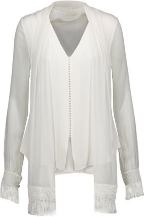 JONATHAN SIMKHAI Fringed tied silk-georgette blouse