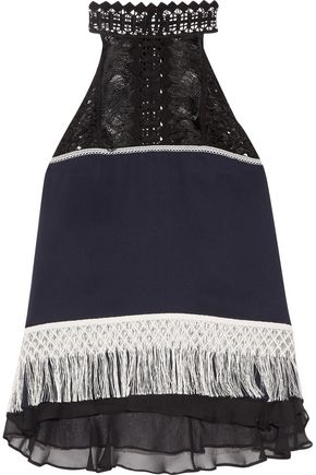 JONATHAN SIMKHAI Guipure lace-paneled fringed  silk-crepe top
