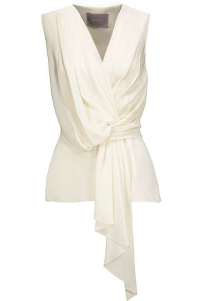 JASON WU Draped silk crepe de chine top