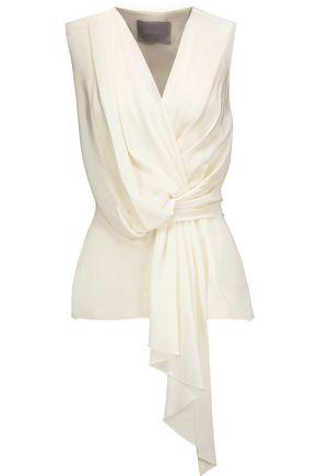 JASON WU Draped silk crepe de chine top