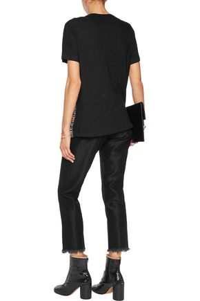 PROENZA SCHOULER Printed silk-georgette and cotton-jersey T-shirt