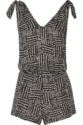 SPLENDID Tied printed modal playsuit