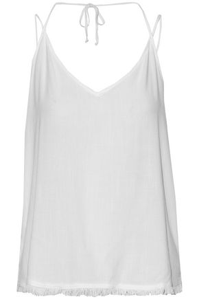 SPLENDID Fringed stretch-jersey top