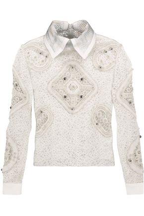 PETER PILOTTO Embellished cloqué-trimmed wool-blend crochet shirt