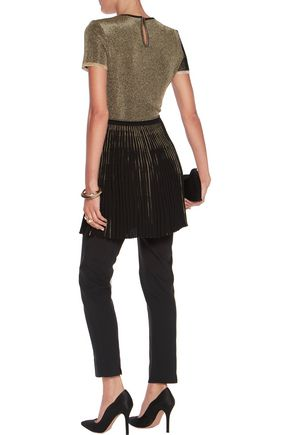 VIONNET Pleat-paneled metallic crochet-knit top