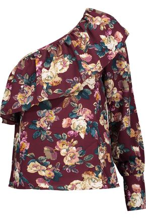 W118 by WALTER BAKER Donna one-shoulder ruffled floral-print crepe de chine top