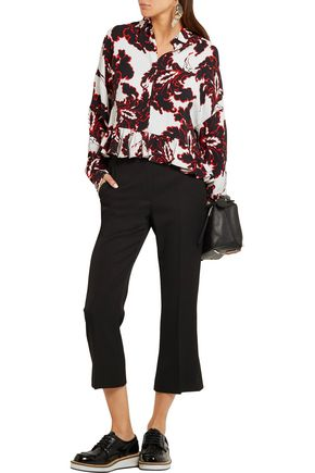 MSGM Ruffled printed crepe shirt