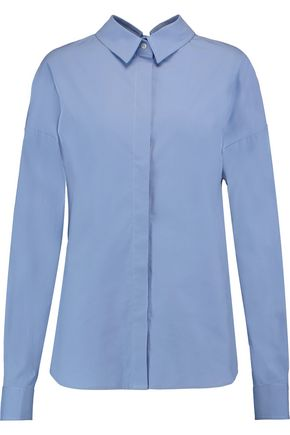 MSGM Cutout cotton-blend poplin shirt