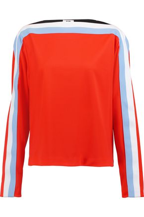 MSGM Color-block stretch-knit top