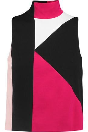 MSGM Paneled stretch-knit turtleneck tank