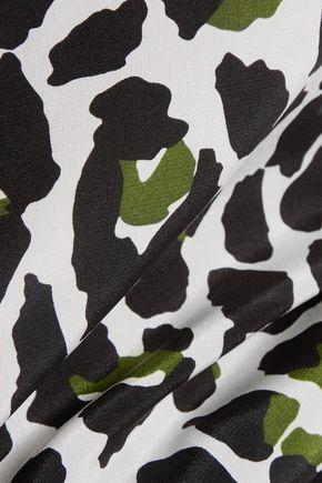 MSGM Animal-print silk-crepe shirt