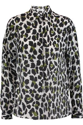 MSGM Animal-print silk-crepe shirt