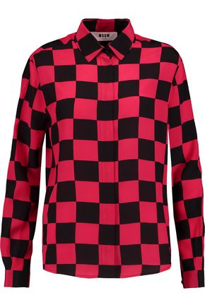 MSGM Two-tone checked silk shirt