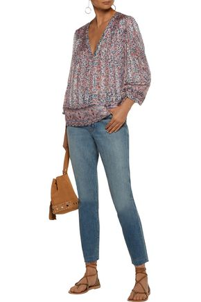 JOIE Frazier metallic floral-print silk-blend satin and chiffon blouse