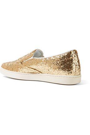 TOMAS MAIER Glittered mesh slip-on sneakers