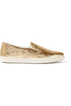 TOMAS MAIER Glittered mesh slip-on sneakers